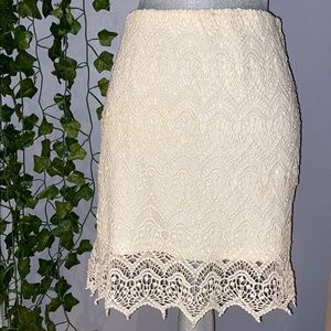 Woman's Ark & Co. Lace/Knit Cream Skirt M